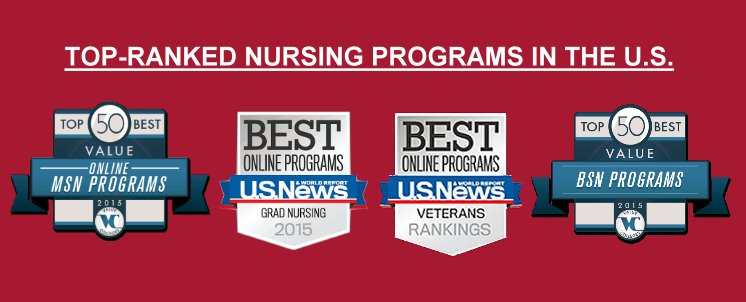 The School of Nursing Graduate Nursing Program ranks in the Top 20 Best <a href=http://www.usnews.com/education/online-education/nursing/rankings>Online Graduate Nursing Programs</a> and <a href=http://www.usnews.com/education/online-education/nursing/veteran-rankings>Online Graduate Nursing Programs for Veterans</a>, and  is also #1 in <a href=http://www.valuecolleges.com/rankings/best-value-online-msn-programs>Best Value MSN Online Programs</a>. The school's BS programs rank in the <a href=http://www.valuecolleges.com/rankings/best-value-bsn-programs>Top 50 Best Value BSN Programs</a>.